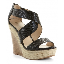 INC International Concepts Women's Shoes Carlin Wedge Sandal Black
