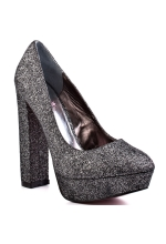 Paris Hilton Shoes Daria Block Heel Pump Pewter