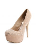 Jeweled Velvet Uber Platform Nude Pump