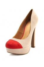 Thick Heel Color Block Pump