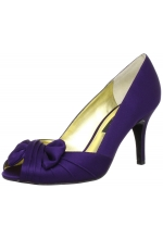Nina Shoes Forbes Open-Toe Pump Grape  Satin