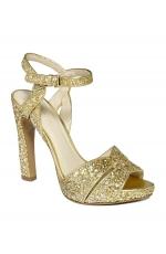 Nine West Hotlist Platform Gold Glitter Sandals