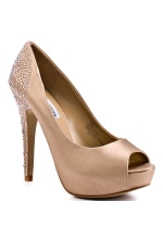 Steve Madden Playy R Champaigne Satin Pump