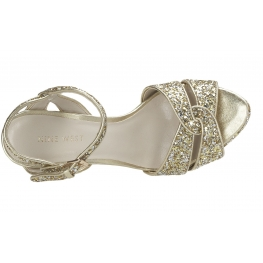 Nine West Hotlist Platform Gold Glitter Sandals