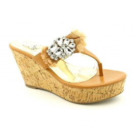 Carlos by Carlos Santana Sparkly Wedge Thong Sandals