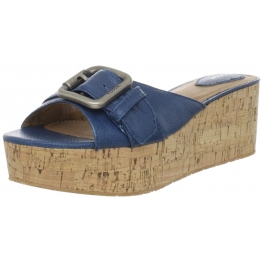 Fossil Shoes Malea Wedge Slide Blue Leather