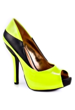 BCBGeneration Women's Liberty Peep Toe Pump Black and Neon