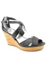 Alfani Shoes Jersey Wedge Sandal Black